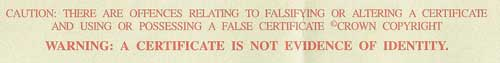 A certificate is not evidence of identity